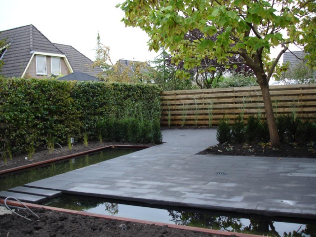 Moderne tuin met vijver in numansdorp for Moderne tuin